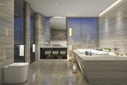 Gray & Silver Luxury Bathroom Interior Design Dubai