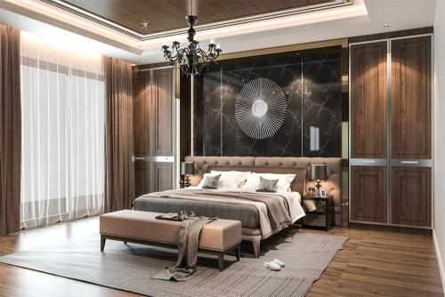 villa master bed room interior design company in Dubai