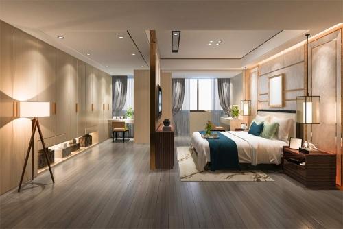 Parquet floor bedroom interior design Dubai