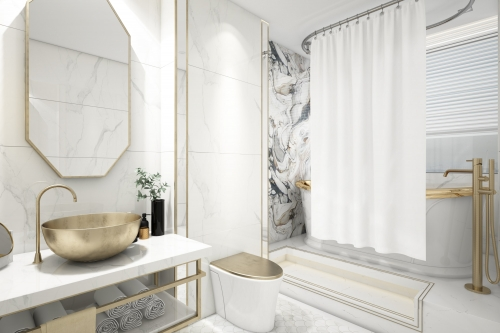 Simple, Fresh, Bright White Bathroom Interior Design Dubai
